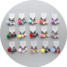 5 Pairs/lot Cute Pet Dog Bow Loverly Bowknot Rubber Bands For Yorkshire Maltese dog  Headwear Grooming accessories