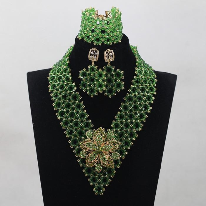 Splendid Leaf Green Crystal Costume Jewelry Set African Nigerian Beads Bridal Events Jewelry Set Free Shipping WD875Splendid Leaf Green Crystal Costume Jewelry Set African Nigerian Beads Bridal Events Jewelry Set Free Shipping WD875