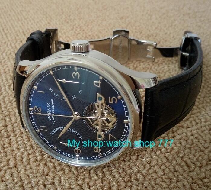 Saatler'ten Mekanik Saatler'de Yeni mavi kadran 43mm PARNIS Kelebek toka Otomatik Öz rüzgar mekanik saatler güç rezervi erkekler saatler zdf8'da  Grup 1