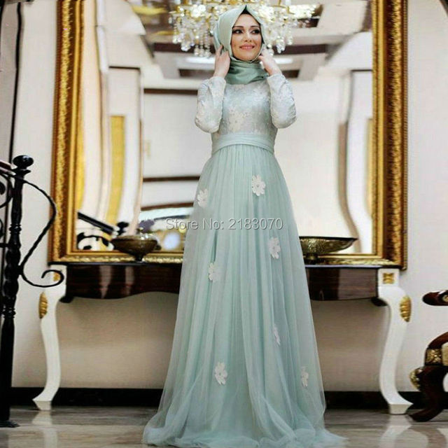 Saudi Arabia Evening Dresses Long Sleeve Dubai Caftan Applique