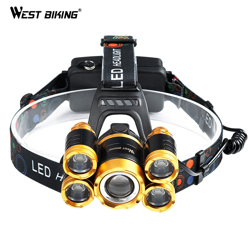 WEST BIKING Bike 5LED Headlamp Super Bright Gold Zoomable 4Modes Waterpoof T6 Cycling Head Light USB Recharge Bicycle Head Torch lumiparty 4000lm headlight cree t6 led head lamp headlamp linterna torch led flashlights biking fishing torch for 18650 battery
