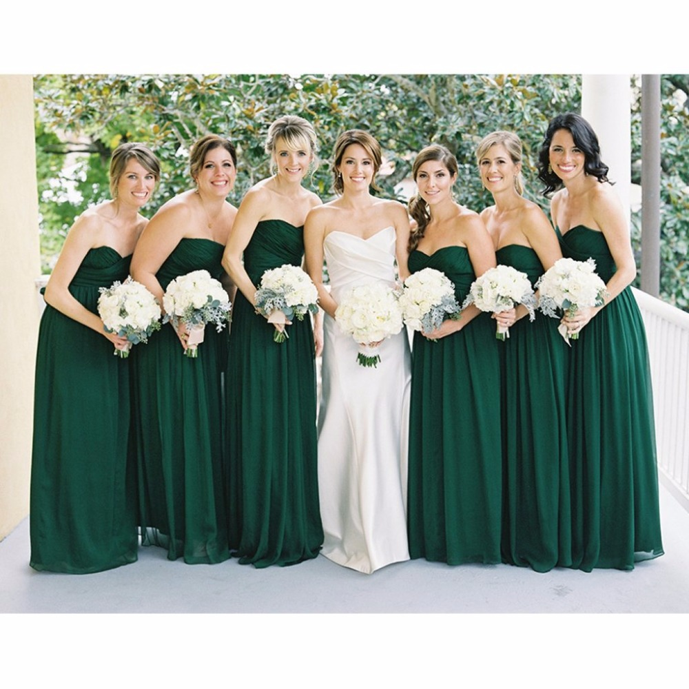 XH-39 Elegant Green Sweetheart   Bridesmaid     Dresses   Long 2018 Off The Shoulder Zipper Back Vestido De Festa De Casamento Hot Sale