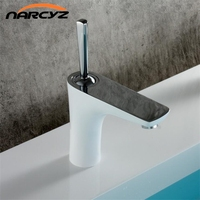 Bathroom Brass Basin Faucet Chrome Plated White Faucet Heightened White Baked With Golden Finish Hot Cold