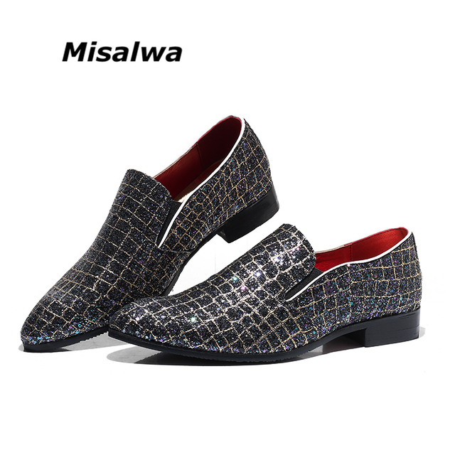 Misalwa Drop Shipping Plus Size 5-12.5 Sequin Men Casual Leather Shoes  Fashion Multicolor Wedding b805a2b36427