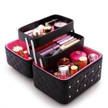 цена на Women Makeup Bag Large Capacity Cosmetic Bags Grid Pattern Toiletry Storage Box Maleta De Maquiagem Profissional