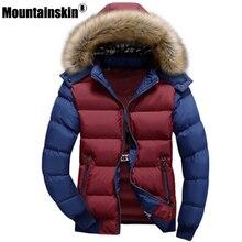 Mountainskin мужские зимние куртки 4XL Толстая парка с мехом на капюшоне мужские Пальто повседневные мягкие мужские куртки мужской одежды SA075