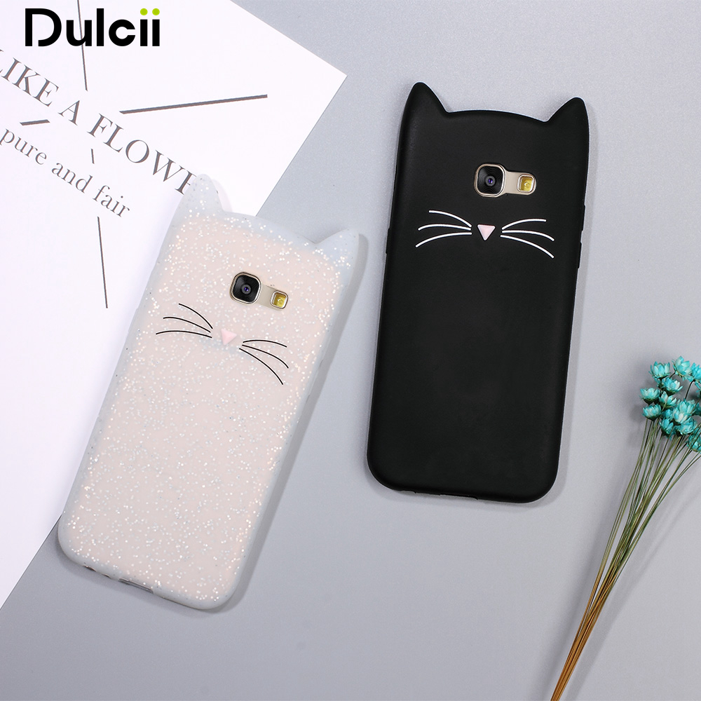 dulcii coque for samsung galaxy a5 2017 cute 3d mustache cat soft silicone back cover for. Black Bedroom Furniture Sets. Home Design Ideas