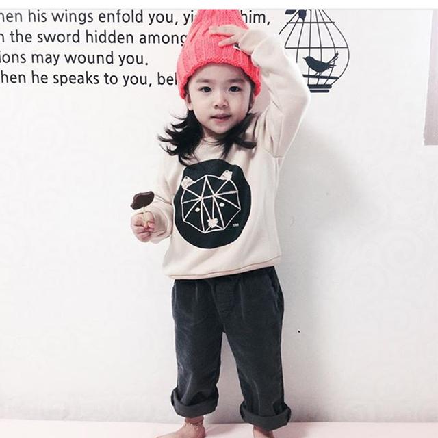 2016 otoño ropa de bebé niña bobo choses nununu niños cartoon hoodies sudaderas vestidos vetement enfant fille garcon