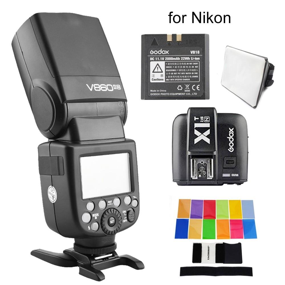 Godox V860II-N I-TTL Speedlight HSS 2.4G Flash for Nikon D3000 D5500 D80 D5300 Dslr Camera With Trigger+Color Filter+ Softbox