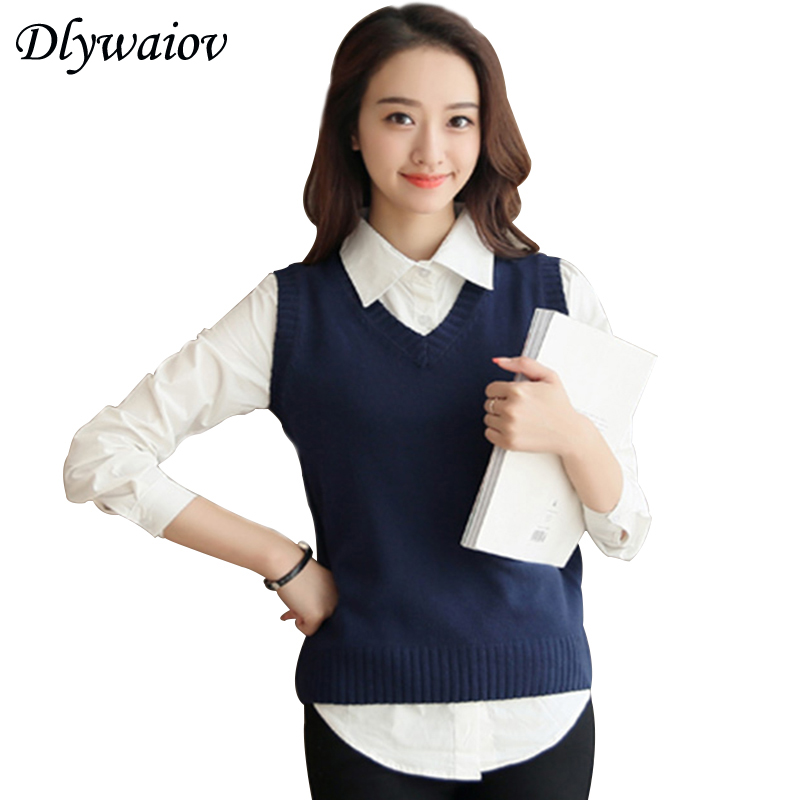 Autumn Wool Sweater Vest Women 2018 New Sleeveless O-Neck Knitted Vest College style Female Casual Tank Tops Pullover