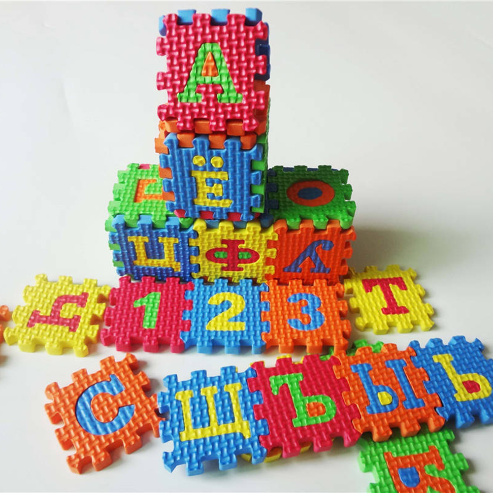 New 36Pcs/Set Russian Alphabet Jigsaw Carpet EVA Baby Kids Puzzle Learning Mat Toy Carpet With Numbers Letter Toys
