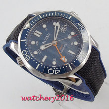 цена Luxury Mens Watches Fashion Automatic BLue Dial Sapphire Glass Luminous date GMT Wristwatch Bliger rubber Strap Watch онлайн в 2017 году