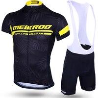 D'origine meikroo hawaii feuilles noir jaune bavoir à manches courtes cyclisme jersey définit vélo course evo vélo vêtements