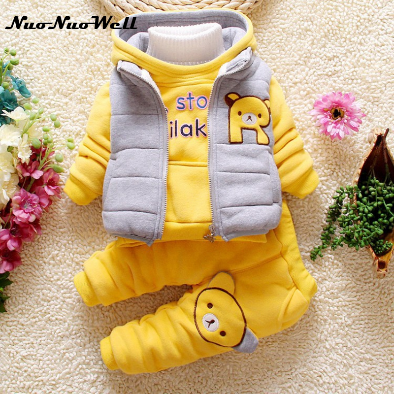 NNW Baby Boys Girls Sets 3pcs Winter Jackets Warm Hooded Thicker Kids Girls Boys Clothes Winter Clothing Sets Vest+Coat+Pant 2015 new autumn winter warm boys girls suit children s sets baby boys hooded clothing set girl kids sets sweatshirts and pant