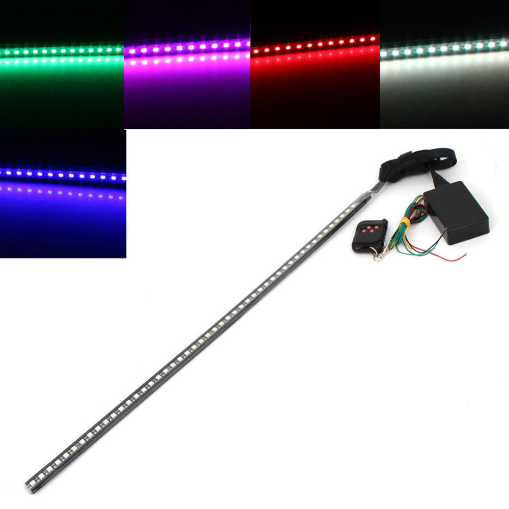 Waterproof 12V 7 Color 48 LED RGB Flash Light Car Auto Strobe Knight Rider Kit Light Strip with Wireless Remote Controller night lord ip68 waterproof 90 120 colorful led under car light rgb chip auto chassis light kit with remote control free shipping