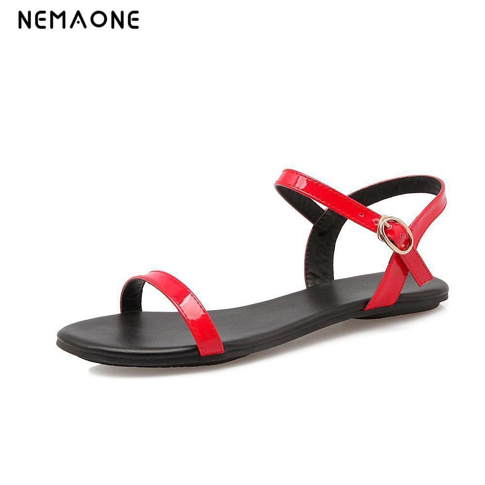 NEMAONE שחור לבן אדום סנדלי נשים 2016 החדש קיץ קרסול רצועת סנדלי כפכפים גודל 33-40 נעליים שטוח סנדל