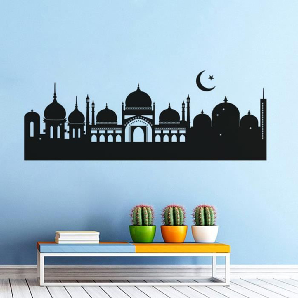 Newest Black Castle Cartoon Removable Wall Stickers Home Decor Decals for Bedroom Living Room Office 45 x 120 CM