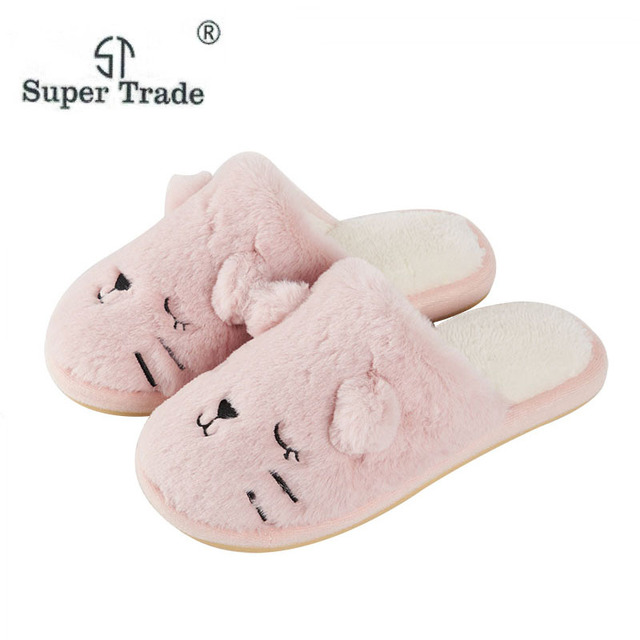 324971e77a4 4 Colors Women shoes Pink Slippers Women Cotton Cat Slippers In Winter  House Lovely Soft Women Slippers Indoor Shoes