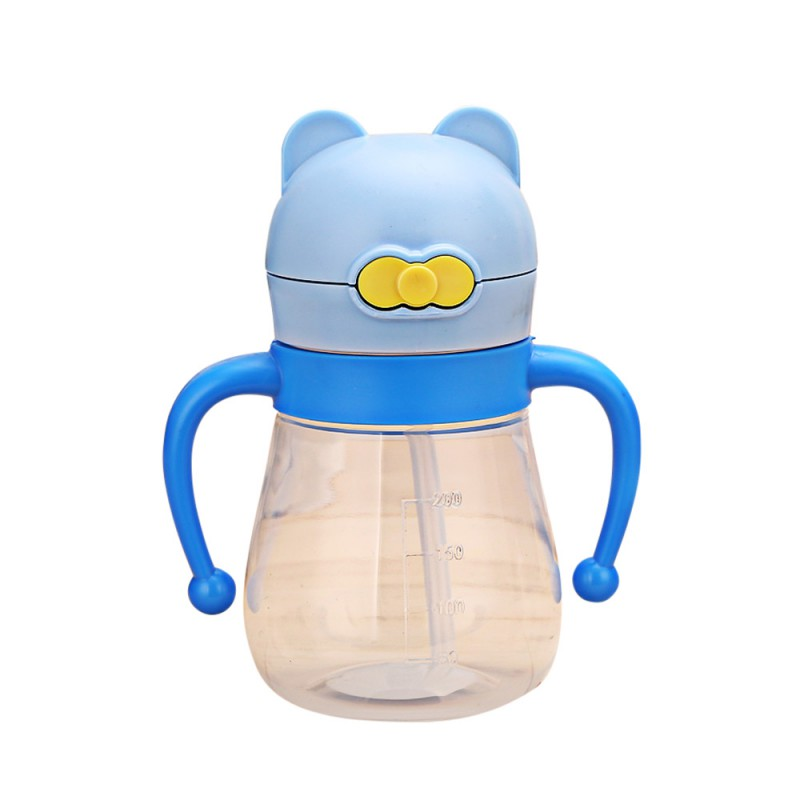 Hot 200ml Baby Learn Feeding Bottle Cartoon Newborn Cup Drinking Water Straw Handle Bottle Sippy Training Cup Baby Food Cup