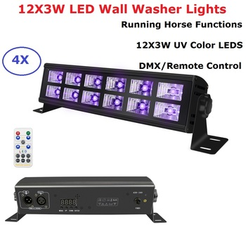4 Units UV Color LED Stage Light 12X3W Bar Wall Washer Lights DMX / Remote Control DJ Party Holiday Entertainments Projector