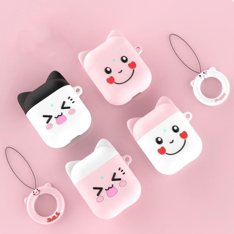 Cute Cartoon Wireless Bluetooth Earphone Case For Apple AirPods 2 1 Silicone Charging Headphones Cases For Airpods 2 Smile Face