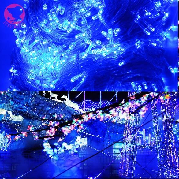 100 M 600 Luces Azules LED Decorativa del Árbol de Navidad de Hadas de la Secuencia Del Partido de La Boda Luz 7 W 220 V de LA UE 8 Modo de Iluminación