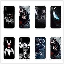 Marvel Venom Villain Spider-man Cool Black silicone Phone Case For iphone 5S SE 6 6SPlus 7 8Plus X10 XR XS MAX DC Comics Coque