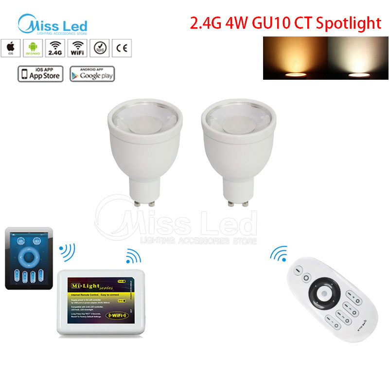 Express 2.4G 4w GU10 CT Spotlight  Mi light wireless RF remote controller + 2.4g WIFI controller + 2x CCT GU10 4w led bulb mi light 2 4g mr16 4w led bulb rgbww rf professional smart led spotlight wireless wifi controller for led bulb ac dc12v