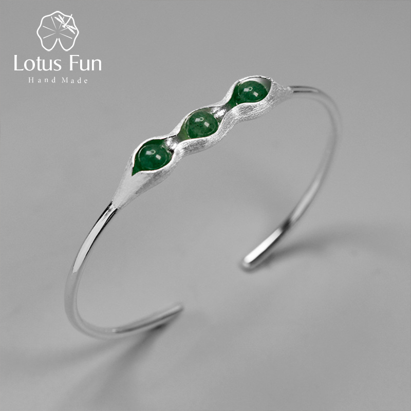 Lotus Fun Real 925 Sterling Silver Handmade Jewelry Natural Green Stones Creative Pea Pods Design Bangles