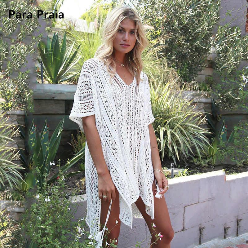 76776c3a9b0 Пляжное платье с длинным рукавом крючком Купальник Cover Up вязаные крючком  кисточкой галстук пляжная Для женщин