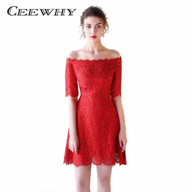 CEEWHY Half Sleeve Lace Dress Boat Neck Short Formal Dress Red Cocktail  Dresses Real Picture Vestidos de Coctel Above Knee ee54f579ef4b