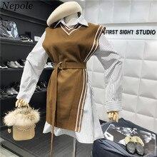 ca69aeb31 Neploe Fashion Two Pieces Set Stripped Long Shirt Vest Sashes Preppy Style  2019 Spring Autumn Modis