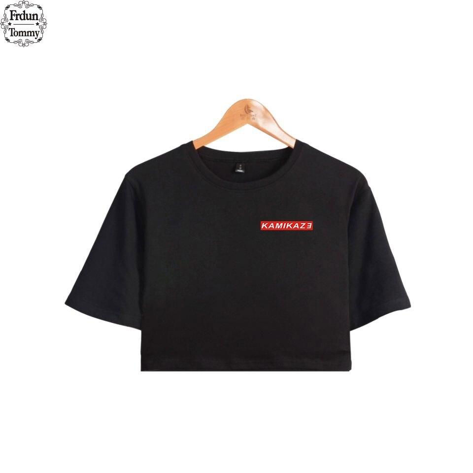Frdun Tommy Eminem Kamikaze Rapper DJ Summer Cool Crop Top T-shirt Women 100% Cotton Short Sleeve T-shirt Hip Hop Clothes Casual jung kook bts persona