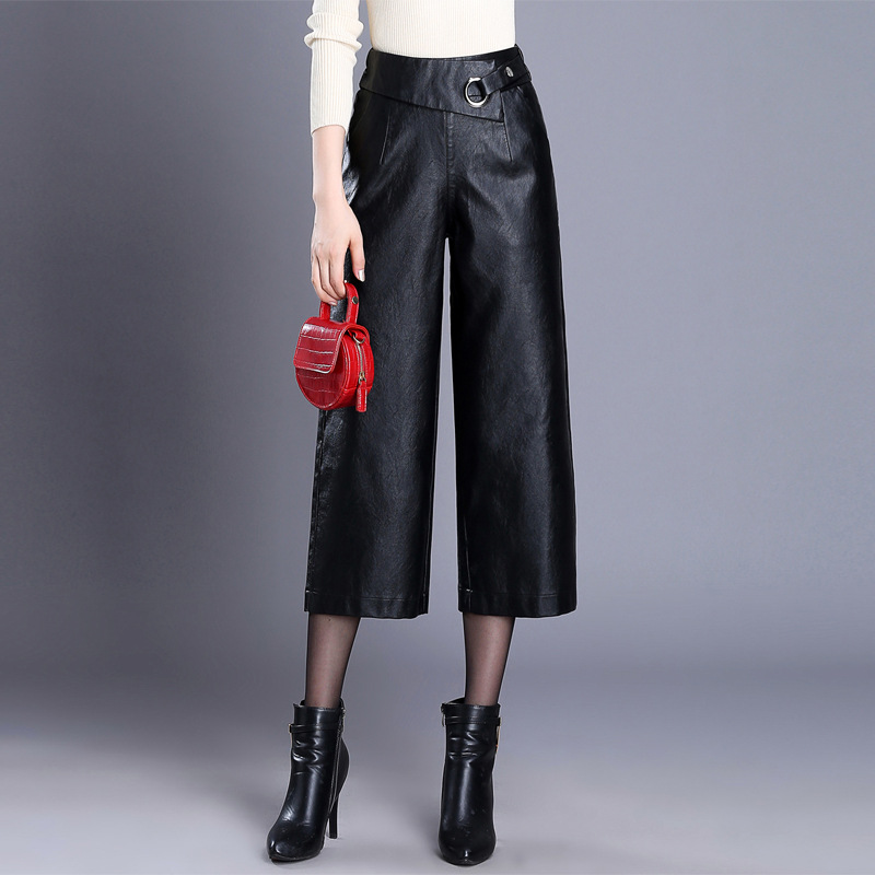 Pu Wide Leg   Pants     Capri   Women 2019 Winter Autumn High Waist Straight Leather   Pants   Female Trousers Plus Size 4XL Pantalon Mujer