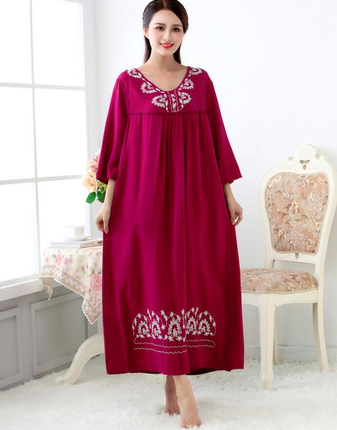 Women Long Loose Casual Soft Bourette Embroider Sleepwear Pajamas Women's Night Gowns Robes Lingerie RB306