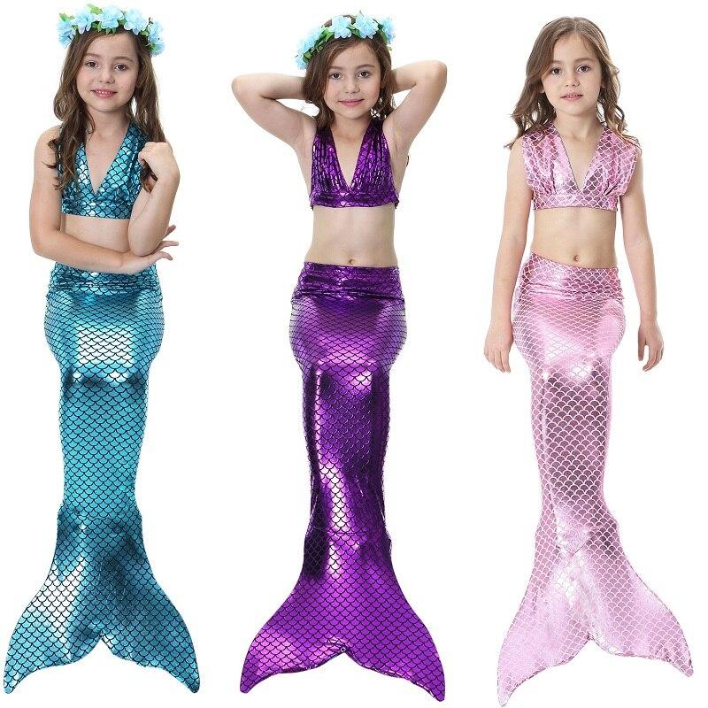 2019 Hot Bikinis Set Girls Kids Split Swimsuit Mermaid Tail Cosplay Costume for Girl Swimming