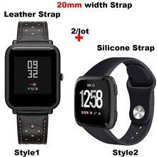 Купить с кэшбэком Leather Bracelet Band 20MM Men Women Smart Watch Pulsera Correa Watchband Silicone Wrist Strap Quick Release Watch Accessories