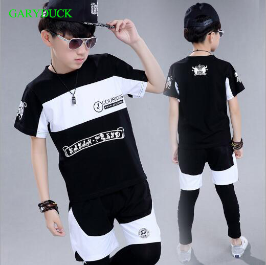 Children clothing set short sleeve boys sports suits performance wear cotton girls tracksuit teenage kids Hip-hop clothing kids tracksuit boys clothing 4 13t children s sports suits hooded children clothing suit for boys teenage girls clothing fashion