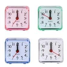 New Mini Square Quartz Beep Alarm Clock Plastic Desk Table Travel Trip Portable
