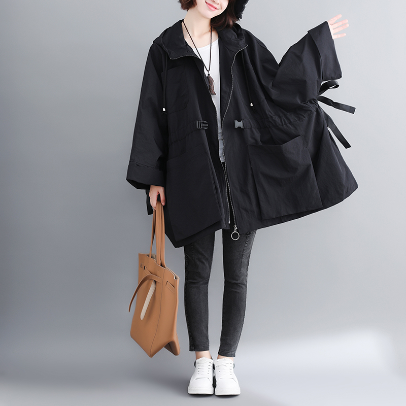 2019 Women's   Trench   Coat Spring Autumn Coats Female New Large Size Hooded Outerwear Casual Loose Windbreaker Overcoat V603