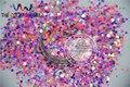 Misturar Cores Do Arco Íris Hexagon Forma Perolado Brilho de Lantejoulas, Lantejoulas para nail art decoração Tamanho: 2mm 1 pack = 50g