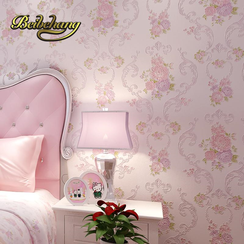beibehang European style garden style mash pink wall paper living room non woven wall bedroom wallpaper girl room marriage room