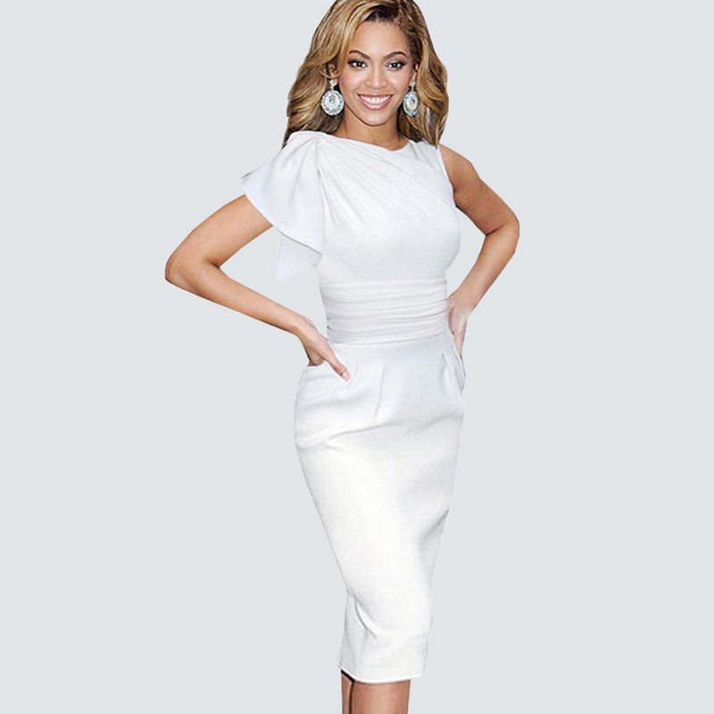 Buy Cheap Vintage Saintly White Ruffle Sleeveless Party Dress Elegant Ruched Retro Draped Waist Lining Formal Bodycon Pencil Dress B311