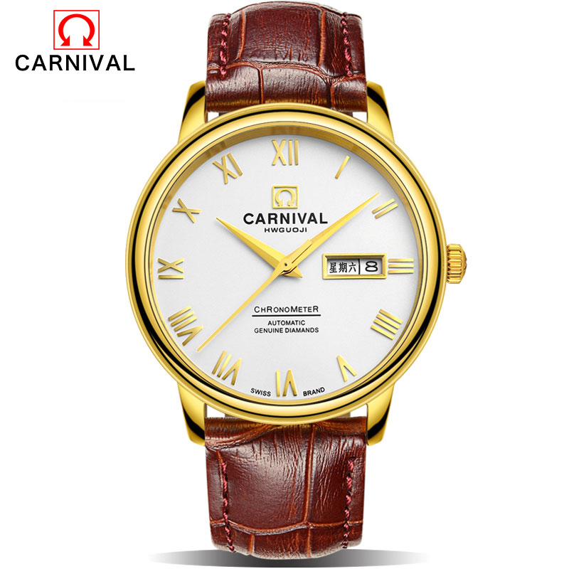 CARNIVAL Fashion Mens Automatic Mechanical Watches Top Brand Luxury Casual Leather Strap Watch Men Calendar Male Clock kol saati forsining date month display rose golden case mens watches top brand luxury automatic watch clock men casual fashion clock watch