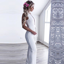 Europe and the United States New Casual Sleeveless V-neck Stretch High Waist Straight Jumpsuit 2019 explosion models europe and the united states sling v neck long dress print chiffon backless beach high quality