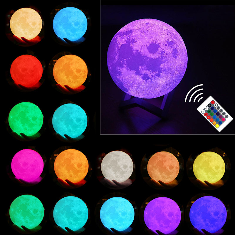 Moon Lamp 3D Printing Led Night Light Moonlight USB Rechargeable For Home Decoration LB88