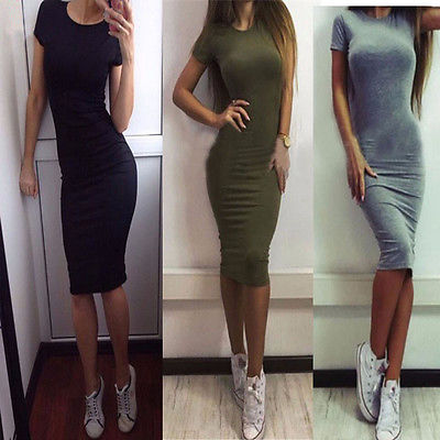 Fashion SEXY Women's Summer Dress Casual Short Sleeve Dress Evening Party Dress Midi Dress