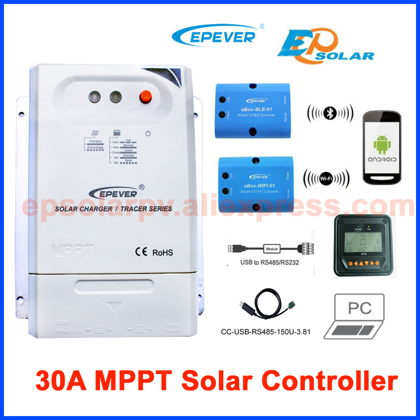 Tracer3210CN 30A MPPT solar charge controller 12v 24v EPEVER Regulator with MT50 WIFI Bluetooth PC Communication Mobile APP new mppt series tracer5210bp solar battery charge regulator with black mt50 remote meter epever free shipping