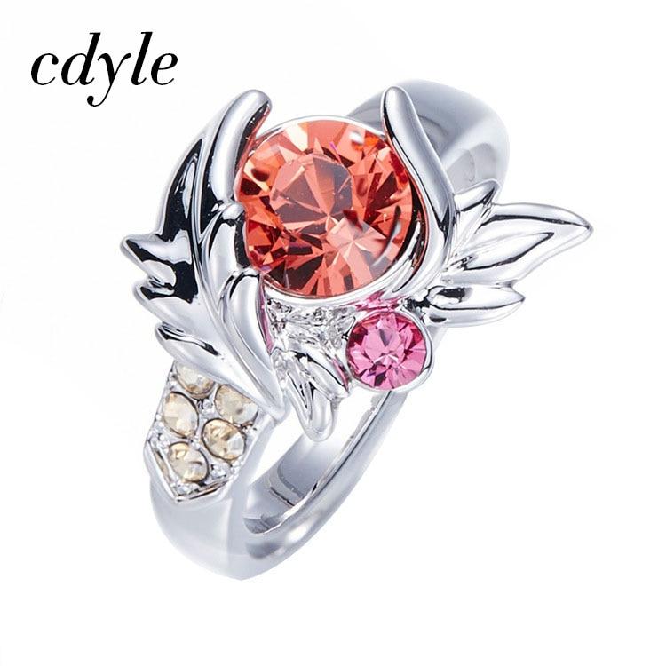 Gerade Cdyle Verziert Mit Kristallen Von Swarovski Frauen Ring Hochzeit Ring Mode Romantische Jahrestag Engagement Schmuck Bijous Hindernis Entfernen Ringe