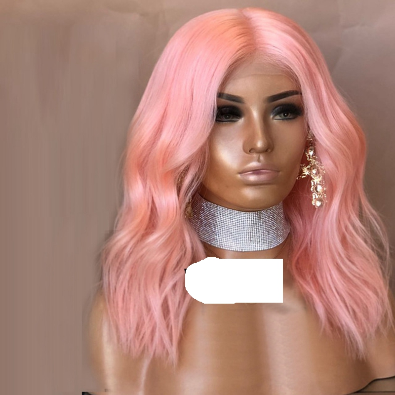 MRWIG Short curly bob pink synthetic front lace wig glueless 14in real hair for young lady party cosplay